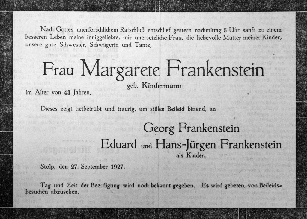 Frankenstein Margarete 1 SP 27 09 1927